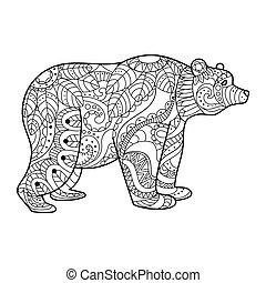 Bear coloring book vector illustration