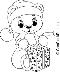 Bear coloring page - Bear opens his gift