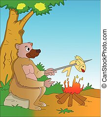 Bear Cooking a Fish, illustration