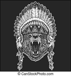 Bear Cool animal wearing native american indian headdress with feathers Boho chic style Hand drawn image for tattoo, emblem, badge, logo, patch