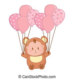 bear costume with balloons