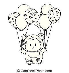 bear costume with balloons in black and white
