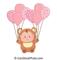 bear costume with balloons vector illustration