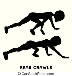 Bear crawls. Sport exersice. Silhouettes of woman doing exercise. Workout, training.