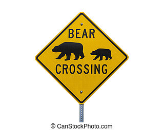 Bear Crossing Highway Sign Isolated on White