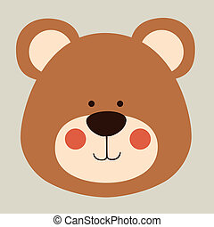 bear design over beige background vector illustration