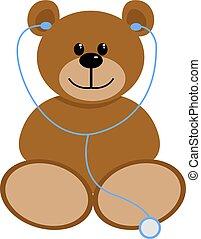 Bear doctor, illustration, vector on white background.