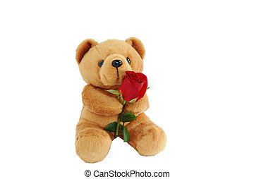 Bear doll holding a rose - Teddy bear holding a red rose in ...