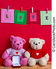 bear dolls with wedding ring