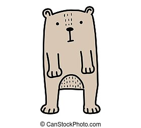Bear doodle. Hand drawn lines cartoon character vector illustration isolated on white background.