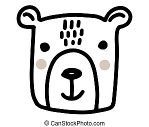 Bear doodle. Hand drawn lines cartoon vector illustration isolated on white background.
