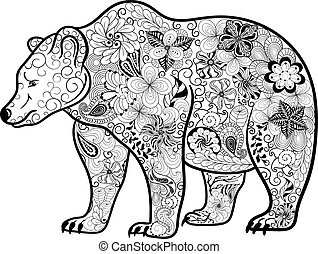 Zentangle stylized grizzly bear Coloring page of grizzly eps