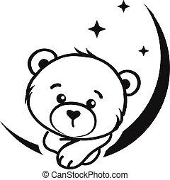 Bear dreamer in black and white