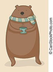 Bear drinking tea - Cute cartoon bear holding a cup of hot...