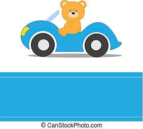 Bear driving a car
