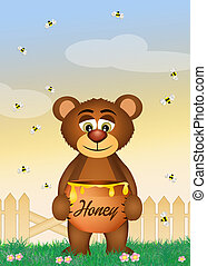 bear eat honey - illustration of bear eat honey