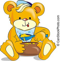 Cute cartoon bear eating honey. Illustration