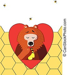 bear eating honey in red heart on honeycomb background