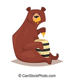 bear eating sweet honey - Vector cartoon style bear eating...