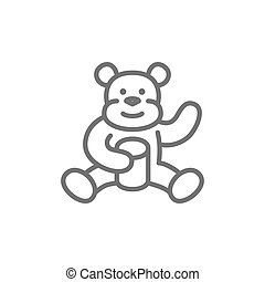 Bear eating sweet honey line icon. Isolated on white background