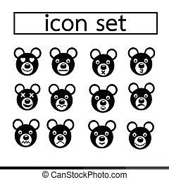 bear emotion icon set illustration design