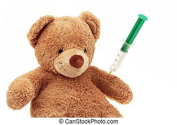 bear - En Teddy gets an injection. Immunizations and...