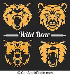 Bear faces mascot emblem symbols.