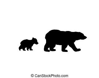 Bear family black silhouette animals.