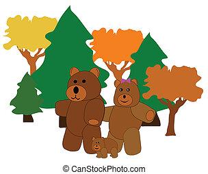 bear family going for walk