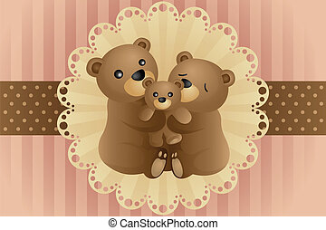 A vector illustration of a bear family hugging