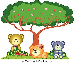 Bear family playing in the park
