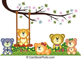 Bear family playing under tree