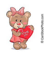 Bear Female Holding Red Heart with Text I Love You