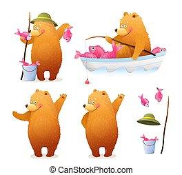 Bear Fisherman Fishing Cartoon Clipart for Kids