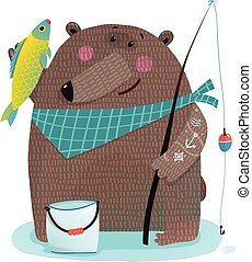 Bear fisherman with fishing rod catching fish