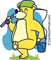 Bear fishing vector art