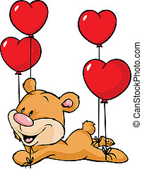 bear flying with balloons in the shape of heart isolated on white background