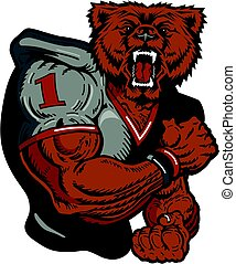 bear football player - muscular bear football player team...