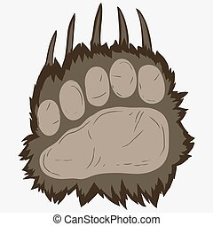 Bear footprint, grizzly paw print. vector
