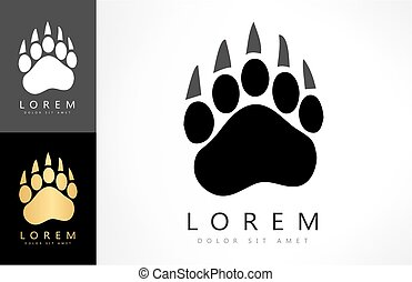 Bear footprint logo. Animal  vector design.