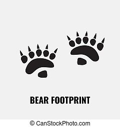 Bear footprint trails. Front and back footprints. Vector Illustration.