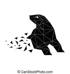 Bear Geometric Silhouette Isolated On White Background