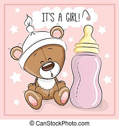 Bear girl - Cute Cartoon Teddy bear with feeding bottle