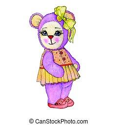 Bear girl painted in watercolor