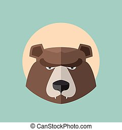 Bear Grizzly  Head Graphic.