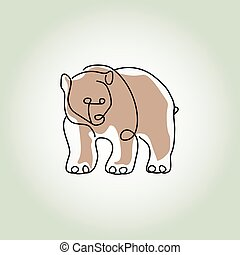 Bear grizzly in minimal line style