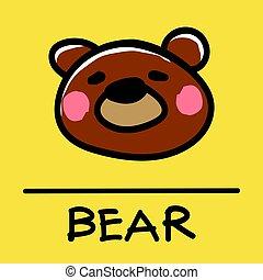 bear hand-drawn style,Vector illustration.