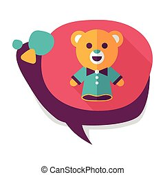 bear hand puppet flat icon with long shadow,eps10
