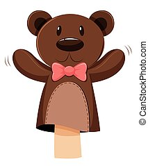 Bear hand puppet with pink bow illustration