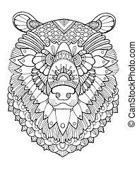 Bear head coloring book vector illustration